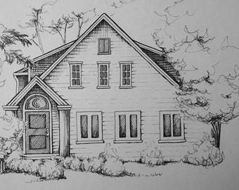Custom Classic Pen and Ink House Portrait Illustration Commission Artwork 9x11