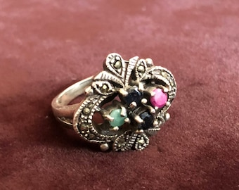 Sterling Marcasite Ring with Topaz and More