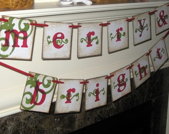 Vintage Merry and Bright Garland Banner Sign ECS