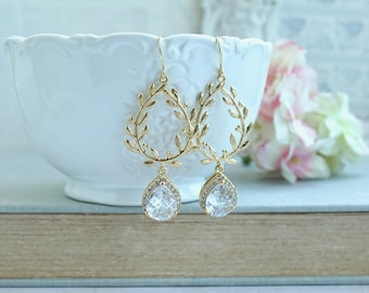 Laurel Wreath Earring Cubic Zirconia Gold Plated Chandelier Earrings Wedding Earring Bridesmaid Gifts Rose Gold Clear Cubic Zirconia Wedding