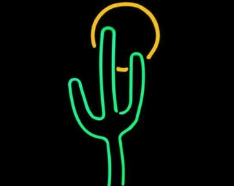 Saguaro Cactus with Sun Neon Freestanding Art Sculpture