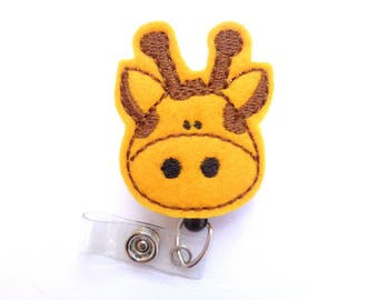 Retractable badge holder - Giraffe badge reel - goldenrod felt - nurse badge reel medical badge reel - zoo safari