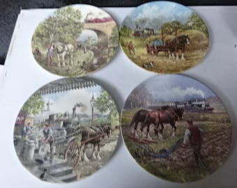 Set of 4 Wedgwood Bone China Decorative Collectors Plates/Country Connections by John Chapman/Wedgwood China Plate/Collectable/Decor/1980s