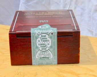 Vintage Wooden Natural Drew Estate Cigar Box 6 3/4 X 5 3/4