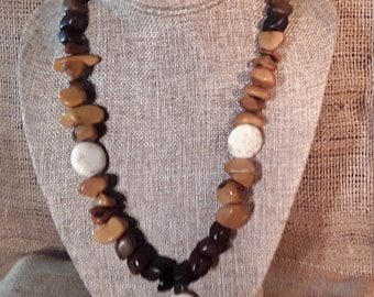 Wood, Bone and Stone Statement Necklace