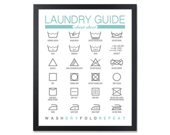 Laundry Room Sign Clothing Care Symbols Cheat Sheet Laundry Instructions Laundry Room art Printable Laundry Sign Laundry guide wall art sign