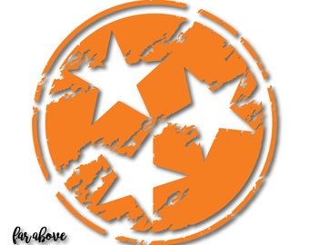 Lightly Distressed Tristar State of Tennessee SVG, EPS, DXF, png, jpg digital cut files Silhouette Cricut Tn Rocky Top See Warning Below