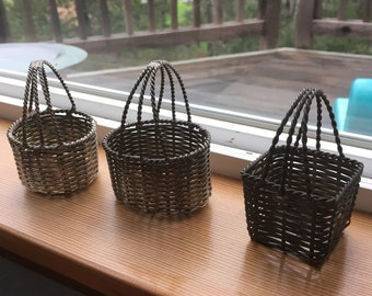 3 Silver Wire Baskets Vintage Metal Easter Basket Twisted Wire Handles Small Collectible Basket All Holidays Home Decor