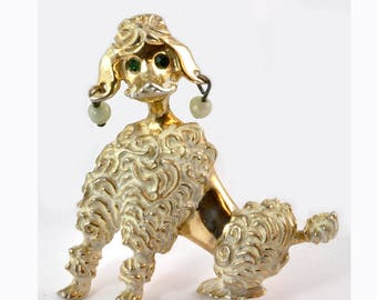 Vintage Gold Tone 1950's Poodle Dog brooch or pin - Mid-Century Modern - Atomic Era - Whimsical