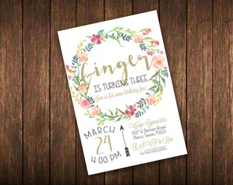 Bohemian Rustic Floral Birthday Invitation 5x7