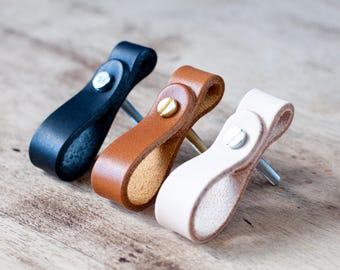 Leather Drawer Pulls, leather door pulls,Leather Door Handles,  Leather Knobs, Cupboard Handles, Leather Drawer Pulls, Leather knob pulls