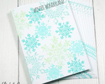 Boxed Christmas Cards, Falling Snowflakes, Handmade Christmas Cards, Christmas Greeting Cards, Handmade Greeting Cards, Holiday Cards