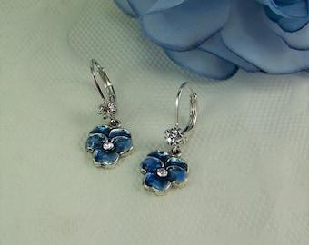 Pansy Earrings, Blue Pansy Earrings, Crystal Pansies, Flower Earrings, Blue Pansy, Pansy, Cloisonne Pansy, Flower Earrings