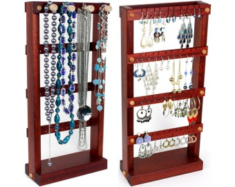 Jewelry Display Stand - Jewelry Holder, Bloodwood, Wood, Necklace Rack. Holds 40 pairs plus 4 pegs. Earring Holder - Earring Display Rack