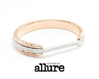 ALLURE FEATURED Hair Tie Bracelet, Hair Tie Bracelet Holder - Flower Design Steel Rose Gold