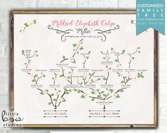 Printable Wall Art: Personalized Family Tree Baby Name Print, Unique Genealogy Print, Birth Stats, Personalized Baby Gift, Nursery Decor