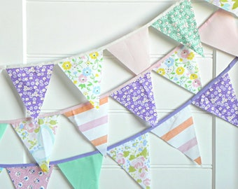 Fabric Bunting Flags, Garland Banner, Floral Nursery Wall Decor, Mint Pink Baby Shower Girl, Garden Bridal Shower Decorations, Tea Party