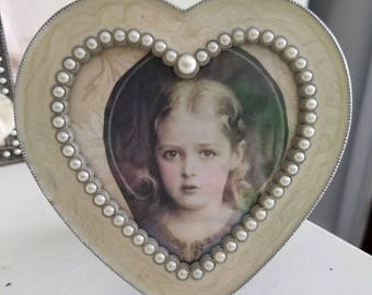 Picture of Mary as a child...vintage metal frame....heart shaped