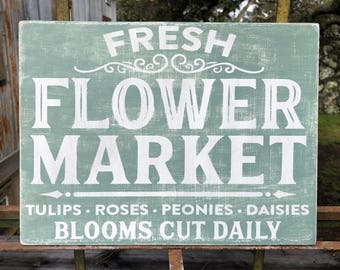 Fresh Flower Market  Primitive Hand Painted Sign