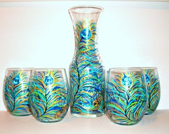 Hand Painted Wine Carafe Set Peacock  Feathers 4 - 21 oz. Stemless Wine Glasses and Decanter--5 Piece Wedding Collection WIne Glassware