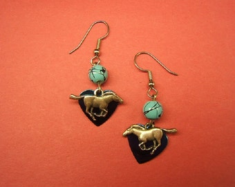 Gift Idea, Earrings, Horse Earrings, Horse Jewelry, Equestrian, Accessories, Cowgirl Earrings, Boho Chic, silver, turquoise bead,  #80127-1