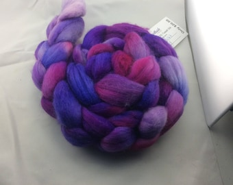 Hand dyed roving, Polwarth Wool and Tussah Silk, from Hearthside Fibers, colorway Gypsy, a dream to spin