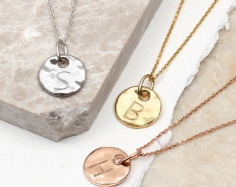 Precious Metal Personalised Hammered Disc Necklace (HBN76)