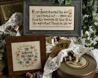 LIZZIE*KATE She Believed She Could counted cross stitch patterns at thecottageneedle.com Easter Best Friend women daughter