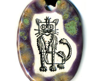 Cat Bot Ceramic Necklace in Spotted Purple