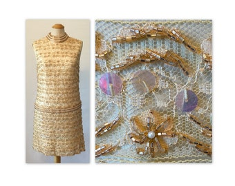 Vintage 60s Cocktail Dress Fully Beaded S Irridescent Paillettes on Champagne Lace