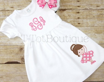 SALE - Ballet Girl Embroidered Dress - First Day of Dance Class or Dance Recital - FREE PERSONALIZATION