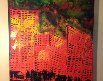 "ORiGiNAL 30 x 24 City ABSTRACT  -""ECLiPSED CiTY""  original Acrylic Paint on canvas   -  30"" X 24""   (# 17-0822)"