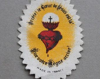 Antique French Sacred Heart of Jesus Badge / Antique Catholic Scapular Prayer Badge