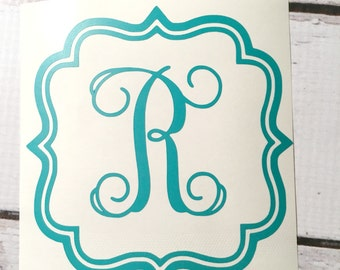 Initial Monogram Vinyl Decal Vine Font Monogrammed Sticker Fancy Border Initial Sticker One Letter Monogram