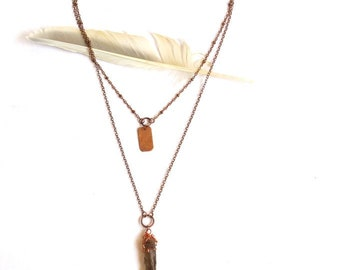 Layered Copper and Smokey Quartz Necklace