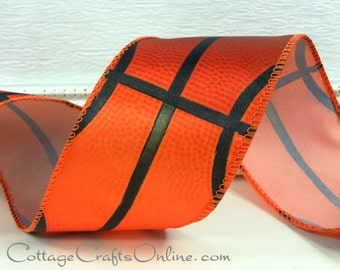 "Wired Ribbon,  2 1/2"" wide,  Basketball Sports Print - TEN YARD ROLL - Offray ""Hoops""  Sports Basket Ball Craft Wire Edged Ribbon"