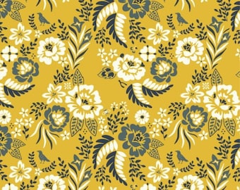Merryweather CANVAS in Merry Floral Marigold from Birch - 1/2 yard