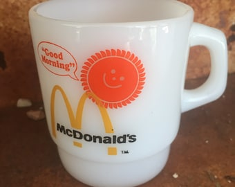 Milk Glass McDonald's Coffee Mug (Good Morning), Anchor Hocking, Fire King