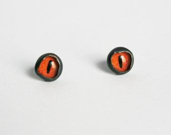 Evil Eye Earrings, Eye Studs, Small Red Studs, Sterling Silver Taxidermy Eye Earrings, Bezel Studs, Taxidermy Jewelry, Taxidermy Studs