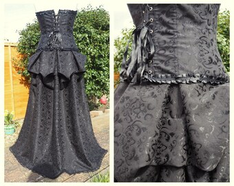 Handmade Damask Black Overskirt Victorian Steampunk Gothic Lolita Burlesque Lace Jacquard Floral Regency Brocade Bustle Halloween Xmas Party