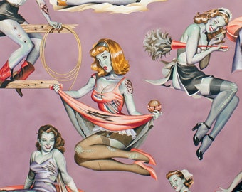 Cotton Quilting Fabric by the Yard- Alexander Henry - Beauties and Brains Mauve Pinups  Rockabilly