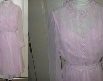 1960s Vintage Miss Elliette Pink Chiffon Party Dress S M