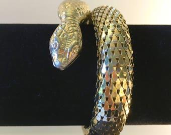 Coiled Snake Bracelet, Cleopatra Bracelet, Mid Century Jewelry, Snake Jewelry, Vintage Jewelry, Egyptian Revival, Gold Serpent Bracelet