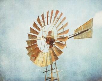 Windmill Photo Farmhouse Decor Windmill Print Aermotor Windmill Rustic Wall Art Rural farm Photo Fixer Upper Decor Country Decor Farm Photo