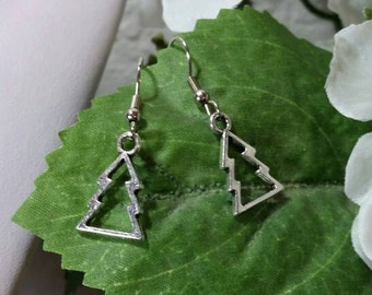 Silver Christmas Tree Charm Earrings - Winter Jewelry - Holiday Party Accessories