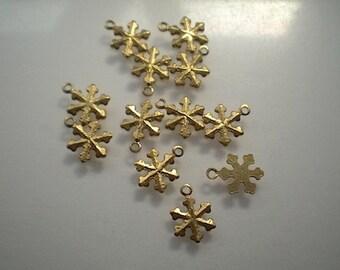 12 tiny brass snowflake charms