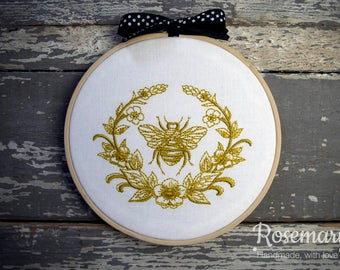 """Embroidered Gold Bumble Bee with Laurel on White 5"""" Embroidery Hoop"""