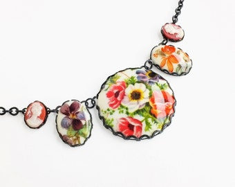 Flower Pendant Necklace Large Vintage Victorian Cameo Necklace Colorful Statement Floral Bridal Wedding Jewelry Statement Necklace
