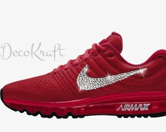 Womens Nike Air Max 2017 iD Red Black Custom Bling Crystal Swarovski  Sneakers, Running Shoes