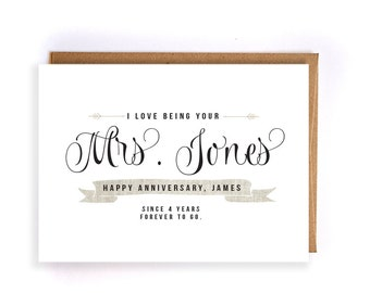 Custom name 4th anniversary cards for him, linen anniversary card, cute handmade greeting cards for husband, anniversary gift for him GC42